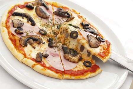dough: Appetizing pizza on a white plate