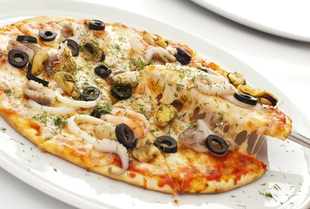 Appetizing pizza on a white plate photo