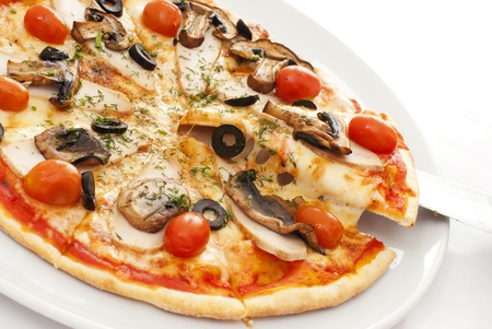 gourmet pizza: Appetizing pizza on a white plate