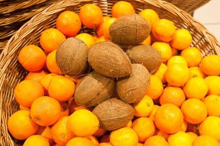 Ripe oranges in a wattled basket photo