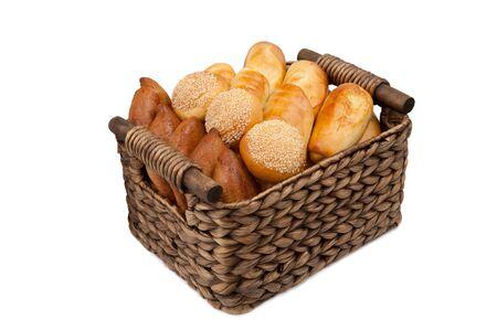 rye bread in a wicker basket on a white background