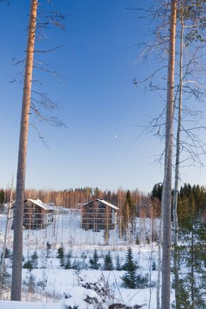 Beautiful winter landscape in Finland. Tahko resort, January 2009. photo
