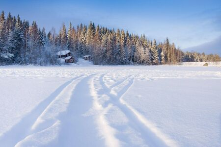 Beautiful winter landscape in Finland. Tahko resort; January 2009 photo