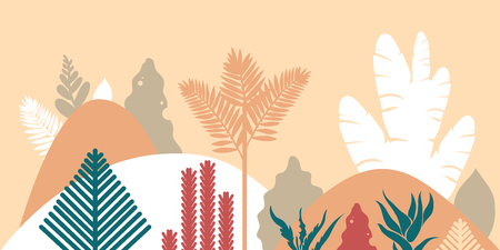 Mountain hilly landscape with tropical plants and trees, palms, succulents. Asian landscape in warm pastel colors. Scandinavian style. Environmental protection, ecology. Park, exterior space, outdoor. Ilustração