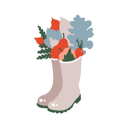 Celebración de la recolección. Imprime al estilo escandinavo. Hojas de otoño, bayas, manzanas, peras con botas de goma.