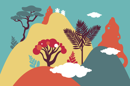 Mountain hilly landscape with tropical plants and trees, palms, succulents. Asian landscape in blue, orang, yellow, purple color. Scandinavian style. Environmental protection, ecology. Park, exterior space, outdoor.