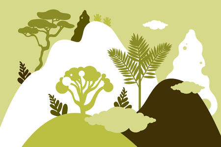 Mountain hilly landscape with tropical plants and trees, palms, succulents. Asian landscape in green color. Scandinavian style. Environmental protection, ecology. Park, exterior space, outdoor. Illustration