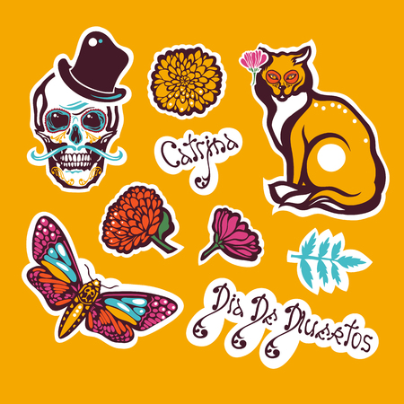 Mexican Day of the Dead. Dia De Los Muertos. Sticker with a human skull in a hat, a cat, a moth Hyles, flowers, marigolds, lettering. Vector illustration.