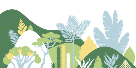 Mountain hilly landscape with tropical plants and trees, palms, succulents. Scandinavian style. Environmental protection, ecology. Park, exterior space, outdoor. Vector illustration.