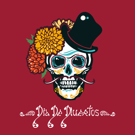 Mexican Day of the Dead. Dia De Los Muertos. Poster with sugar a human head in a hat with a mustache. Lettering. Vector illustration. Illustration