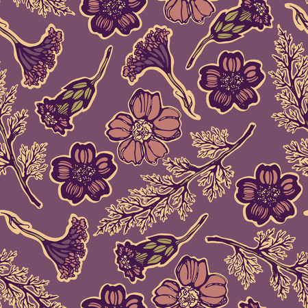 Seamless pattern with handered Yarrow Ilustracja