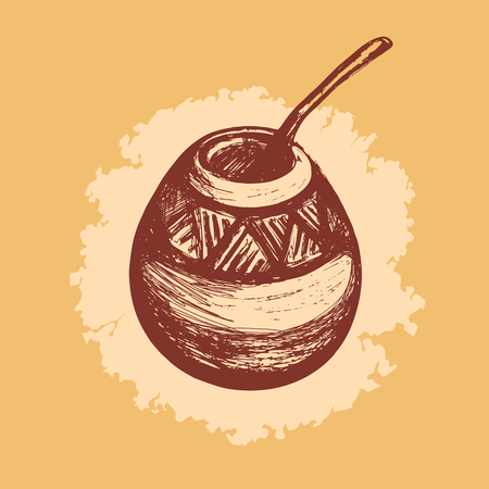 Kalabas and Bombilla. Tableware for mate. Hand drawn. Vector illustration. Vetores