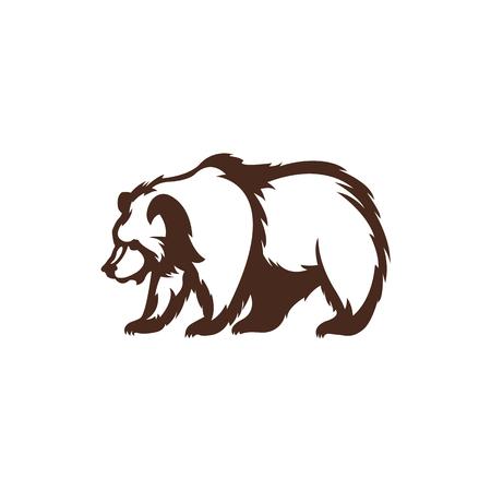 Icono de oso Silueta del animal. Plantilla de diseño.