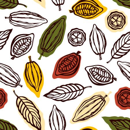 Nahtloses Muster mit Früchten und Kakaoblättern. Hintergrund für die Verpackung von Schokoladengetränk und Schokolade. Handgemalt. Vektorillustration. Vektorgrafik