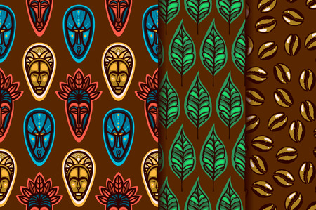 Collection of seamless patterns. Background with masks spirits. Background with coffee leaves. Background with coffee beans. Vector illustration.