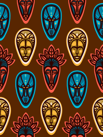 African ritual masks. Seamless pattern with faces. Vector illustration. Vektorové ilustrace
