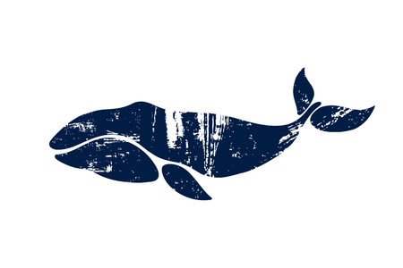 Bowhead Whale. Balaena mysticetus. Whale isolated on a light background. Logo for your design. Ink. Hand drawn.