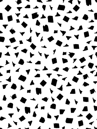 Seamless pattern in black and white color with square, triangular and rectangular shapes. Ink and pen. Hand drawn. Vector illustration.