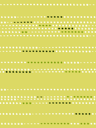 Seamless pattern with dots lined up in the green, yellow, white colors. Ink and brush. Abstract. Hand drawn. Vector illustration. Иллюстрация