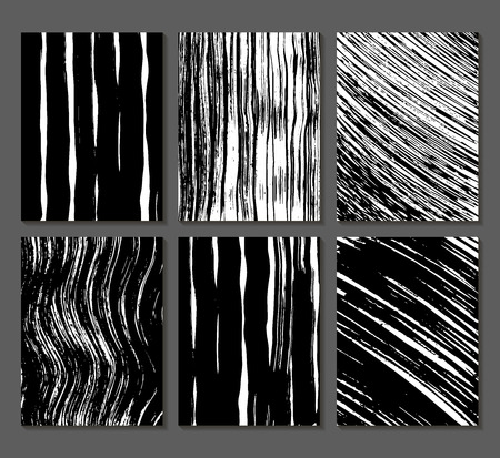 Set of 6 textures. Lines, bands, waves. Abstract shapes drawn in ink. Backgrounds in black and white. Hand drawn. Vector illustration.