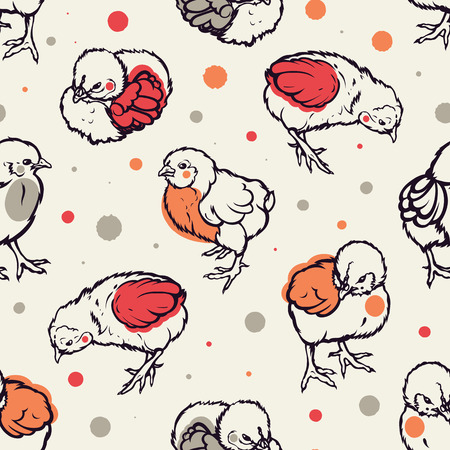 Seamless pattern with little chicken. Poultry. Farming. Livestock raising. Hand drawn. Vector illustration. Vettoriali