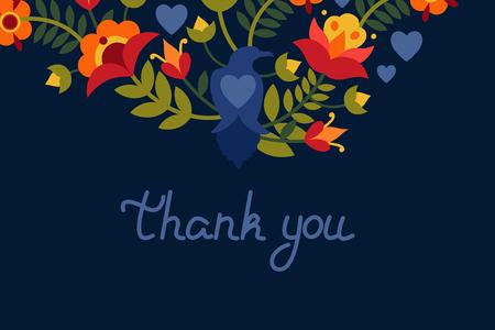 """Grußkarte mit Blumen und Vogelraben. Text: """"Danke"""". Helle Bilder auf dunklem Hintergrund. Vektorillustration."""