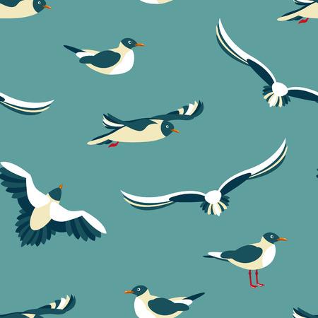 De meeuwen. Naadloos patroon met zeevogels in de stijl van flat.