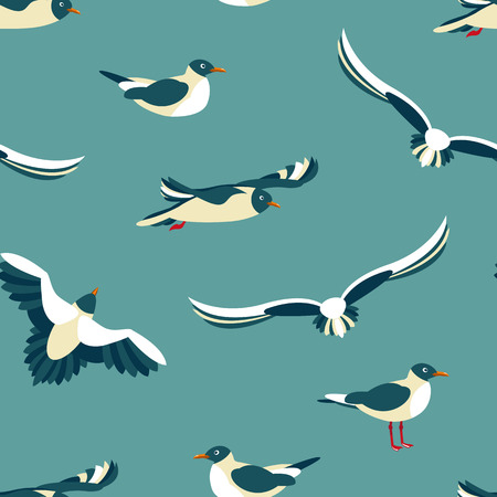 The seagulls. Seamless pattern with sea birds in the style of flat.