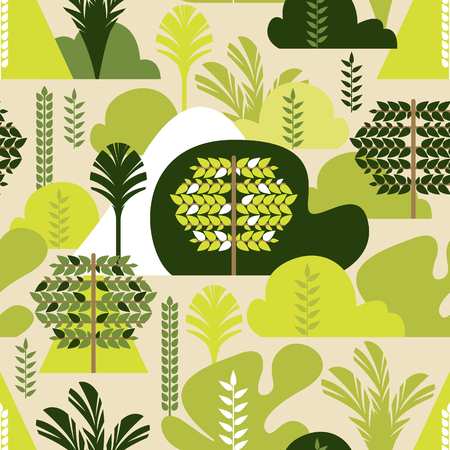 Seamless pattern. Trees broadleaf. Preservation of the environment, forests. Park, outdoor.