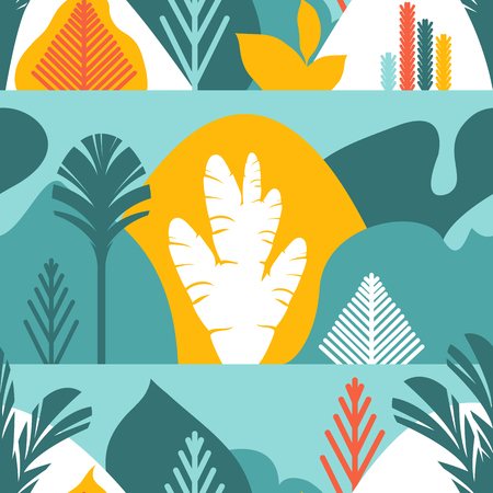 Seamless pattern. Trees are broad-leaved tropical, ferns. Flat style. Preservation of the environment, forests. Park, outdoor. Vector illustration.