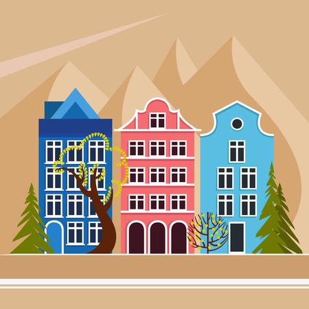 Europese stad in de bergen. Overdag, zomer, herfst, lente. Stadsstraat met vijf huizen, loof- en naaldbomen. Stedelijke omgeving. Vector illustratie.