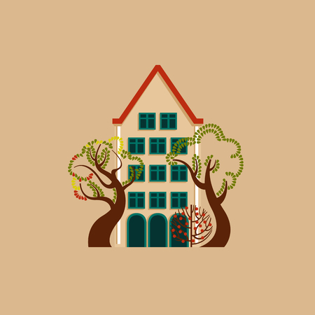 House at day with a glowing window among trees and bushes. Autumn European landscape environment. Vector illustration.