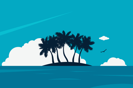 Ocean expanse with island and palm trees. Blue water and sky with white clouds. Vector illustration. Tropical beach. Flat design. Vector illustration. 矢量图像