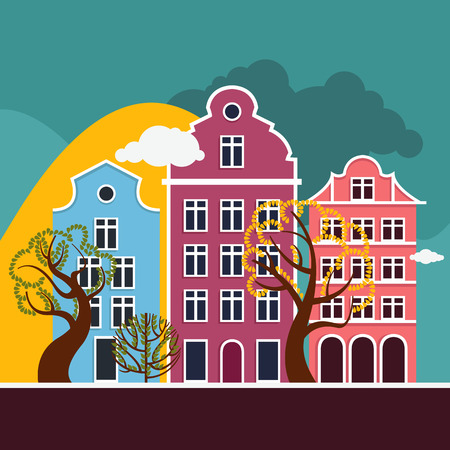 European city landscape. A street with three houses and trees, hills in the background and clouds in the sky. Autumn, summer. Vector illustration. Ilustrace