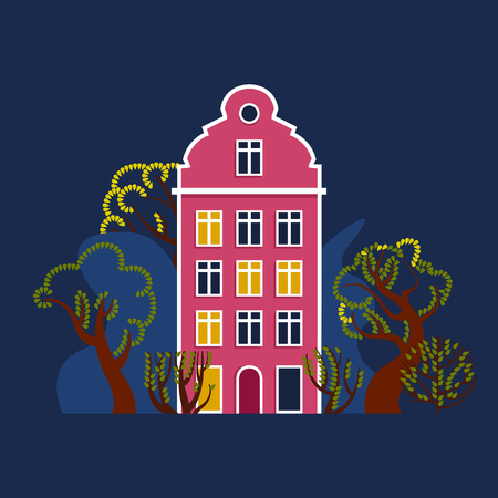 House at night with a glowing window among trees and bushes. Urban European landscape environment. Vector illustration.
