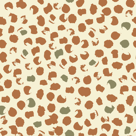 Abstract seamless pattern of leopard spots. Ink and brush. Hand drawn. Vector illustration. Çizim