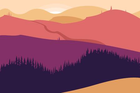 Paysage avec montagnes et forêt. Affiche pour le tourisme avec l'environnement naturel, les parcs nationaux, l'environnement propre. Illustration vectorielle.