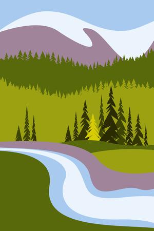 Krajobraz z górami i ośnieżonymi szczytami, rzeką i drzewami. Plakat turystyczny ze środowiskiem naturalnym, parkami narodowymi, czystym środowiskiem. Ilustracji wektorowych. Ilustracje wektorowe