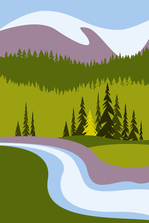 Landscape with mountains and snowy peaks, a river and trees. Poster for tourism with the natural environment, national parks, clean environment. Vector illustration.