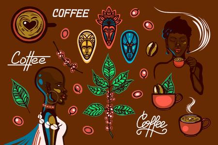Una serie di oggetti sul tema del caffè in Etiopia. Donne, tazzine da caffè, rami di caffè, chicchi di caffè, frutti di bosco, maschere tradizionali, scritte. Illustrazione vettoriale.