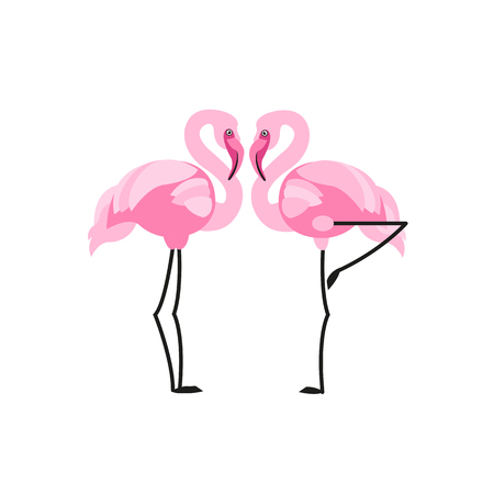 Flamingo label. Vector illustration.