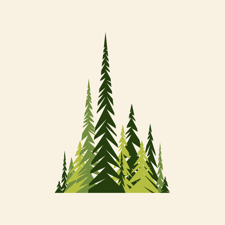 Spruce forest. Green and beige colors. Flat. Vector illustration.
