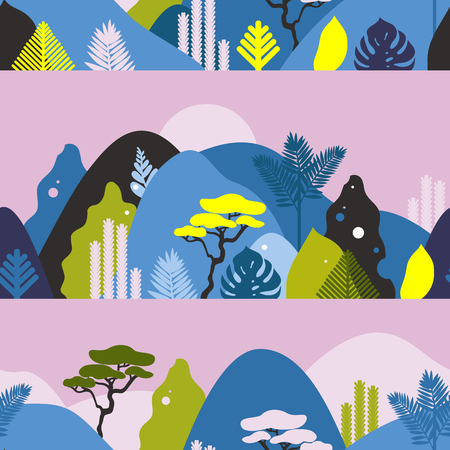Seamless pattern with mountain hilly landscape with tropical plants and trees, palms. Scandinavian style. Environmental protection, ecology. Park, exterior space, outdoor. Vector illustration.