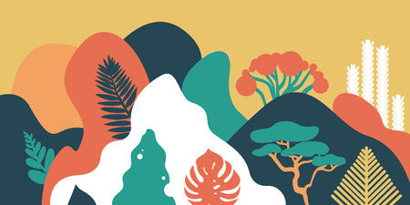 Mountain hilly landscape with tropical plants and trees, palms, succulents. Asian landscape in warm pastel colors. Scandinavian style. Environmental protection, ecology. Park, exterior space, outdoor. Vector illustration. Vectores