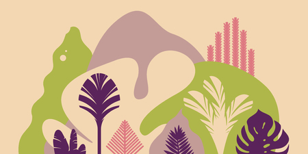 Mountain hilly landscape with plants and trees, palms, succulents. Asian landscape in pastel colors. Scandinavian style. Environmental protection, ecology. Park, exterior space, outdoor.