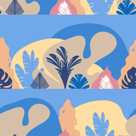 Seamless pattern. Mountain hilly landscape with tropical plants and trees, palms, succulents. Scandinavian style. Environmental protection, ecology. Park, exterior space, outdoor. Vector illustration. Imagens - 114679473
