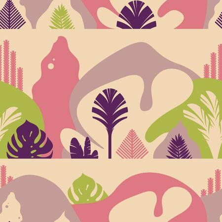 Seamless pattern. Mountain hilly landscape with tropical plants and trees, palms, succulents. Scandinavian style. Environmental protection, ecology. Park, exterior space, outdoor. Vector illustration.