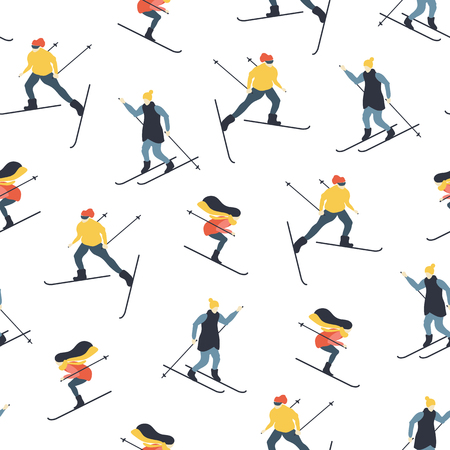 Seamless pattern with people skiing. Women and men in winter sports. Vector illustration. Ilustracja