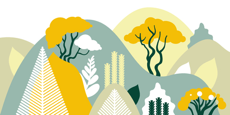 Mountain hilly landscape with tropical plants and trees, palms, succulents. Scandinavian style. Environmental protection, ecology. Park, exterior space, outdoor. Vector illustration. Imagens - 114679555