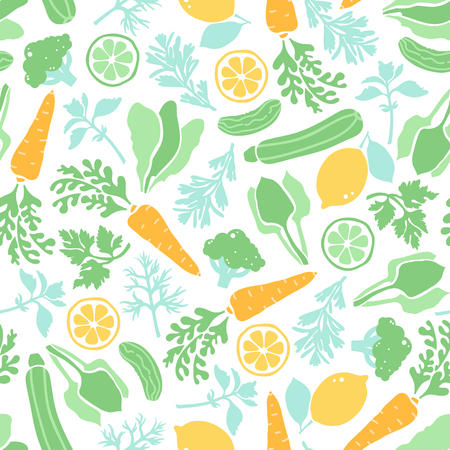 Seamless pattern with vegetables and greenery. Illustration